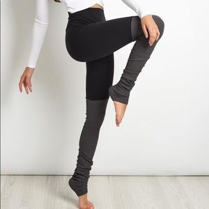 ALO YOGA Goddess Ribbed Leggings Black Grey Size S